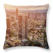 Golden Skyscrapers Of Frankfurt Throw Pillow