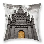 Golden Slc Temple Throw Pillow