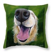 Golden Smile Throw Pillow