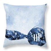 Golden Snitch-blue Throw Pillow