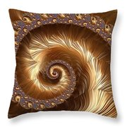 Golden Sparkling Spiral Throw Pillow