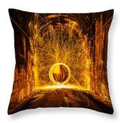 Golden Spinning Sphere Throw Pillow
