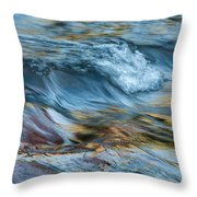 Golden Strands Of Water Throw Pillow