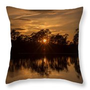 Golden Sunburst At The Lake New Jersey  Throw Pillow