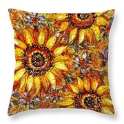 Golden Sunflower Throw Pillow