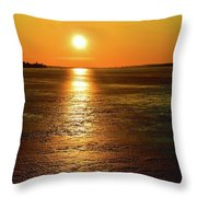 Golden Sunset Light On The Ice Two  Throw Pillow