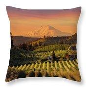 Golden Sunset Over Hood River Pear Orchard Throw Pillow