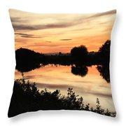 Golden Sunset Reflection Throw Pillow