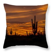 Golden Sunset Sky Throw Pillow