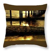 Golden Surf Throw Pillow