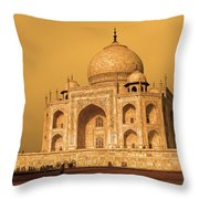Golden Taj Mahal  Throw Pillow