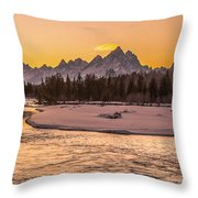 Golden Teton Sunset Throw Pillow