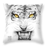Golden Tiger Eyes Throw Pillow