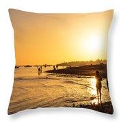 Golden Tropics Hot Beach Sun Throw Pillow