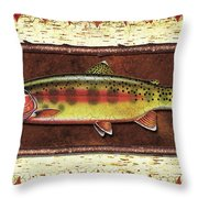 Golden Trout Lodge Throw Pillow by JQ Licensing