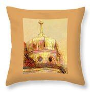 Golden Turret Throw Pillow