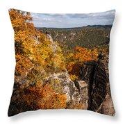Golden Veil Over Rocks. Saxon Switzerland Throw Pillow