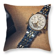 Golden Watch And Black Box Throw Pillow
