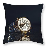 Golden Watch On Dark Background Throw Pillow