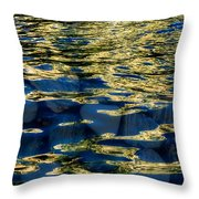 Golden Water With Rocks Throw Pillow