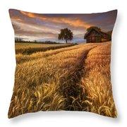 Golden Waves Of Grain Throw Pillow