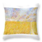 Golden Wheat Field Throw Pillow