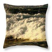 Golden White Wave Throw Pillow