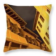 Golden Yellow Night - Chic Zigzags Of Oriel Windows And Serrated Roof Lines Throw Pillow