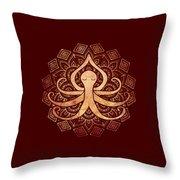 Golden Zen Octopus Meditating Throw Pillow