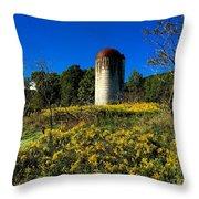Goldenrod Surrounded Silo Throw Pillow