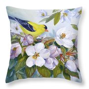 Goldfinch And Crabapple Blossoms Throw Pillow