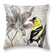 Goldfinch And Lily Throw Pillow