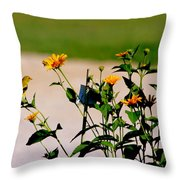 Goldfinch And Yellow Flowers Throw Pillow