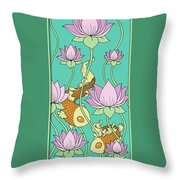 Goldfish And Lotus Throw Pillow