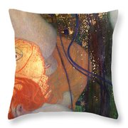 Goldfish Throw Pillow by Gustav Klimt