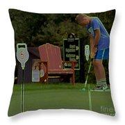 Golf Art 3 Throw Pillow