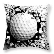 Golf Ball Breaking Forcibly Through A White Wall. 3d Illustration. Throw Pillow
