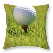 Golf Ball On Tee Throw Pillow