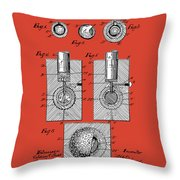 Golf Ball Patent Drawing Red Throw Pillow