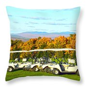 Golf Carts On Vermont Golf Course Throw Pillow