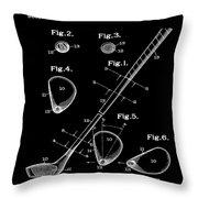Golf Club Patent 1910 Black Throw Pillow