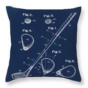 Golf Club Patent 1910 Blue Throw Pillow
