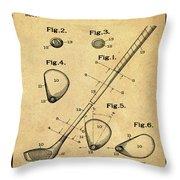 Golf Club Patent 1910 Sepia Throw Pillow