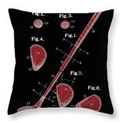 Golf Club Patent Drawing Black 2 Throw Pillow