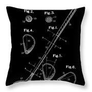 Golf Club Patent Drawing Black Throw Pillow