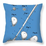 Golf Club Patent Drawing Blue Throw Pillow