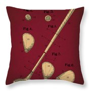 Golf Club Patent Drawing Dark Red 2 Throw Pillow