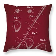 Golf Club Patent Drawing Dark Red Throw Pillow