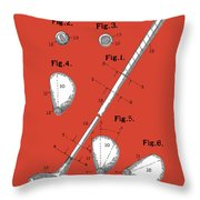Golf Club Patent Drawing Red Throw Pillow