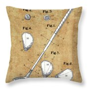 Golf Club Patent Drawing Vintage Throw Pillow